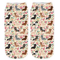 Tacskó mintás zokni - rózsás
