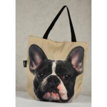 3D Francia Bulldog mintás táska - fekete&fehér
