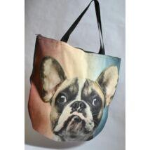 3D Francia Bulldog mintás táska - foltos