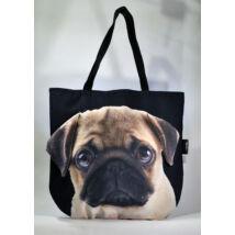 3D Mopsz mintás táska - bézs puppy