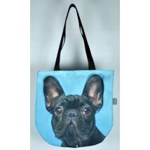 3D Francia Bulldog mintás kids táska - fekete
