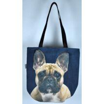 3D Francia Bulldog mintás kids táska - bézs 2