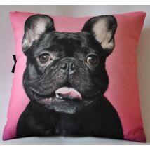 Francia Bulldog mintás párna - fekete