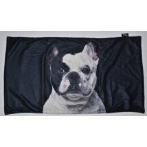 Francia Bulldog mintás takaró - fekete&fehér
