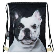 Francia Bulldog mintás hátizsák - fekete&fehér