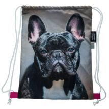 Francia Bulldog mintás hátizsák - fekete 2