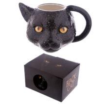 3D Fekete cicás bögre