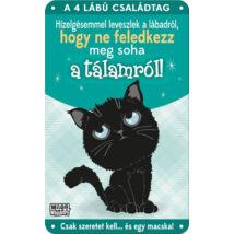 Fekete macskás fém ajtótábla