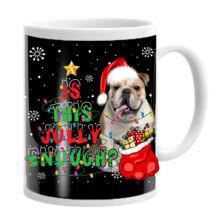 Angol Bulldog mintás karácsonyi bögre
