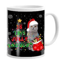 Brit macskás karácsonyi bögre