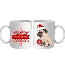 Mopszos karácsonyi bögre - pugmas