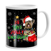 Yorkie mintás karácsonyi bögre