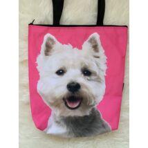 Westie mintás táska - pink