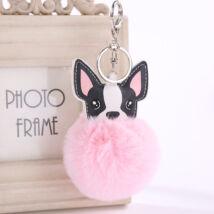 Francia Bulldog pompom kulcstartó - pink