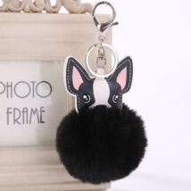 Francia Bulldog pompom kulcstartó - fekete