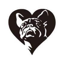 Francia Bulldogos szív matrica