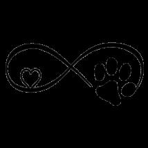Kutya macska szerelem matrica - fekete