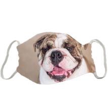 Angol Bulldog mintás szájmaszk - barna