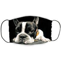 Francia Bulldog mintás szájmaszk - fekete fehér
