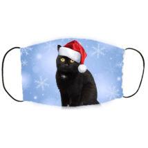 Fekete cicás karácsonyi szájmaszk