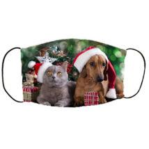 Kutya és cica mintás karácsonyi szájmaszk