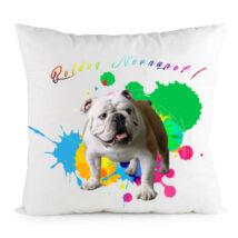Angol Bulldog mintás párna - Boldog Névnapot