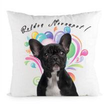 Francia Bulldog mintás párna - Boldog Névnapot