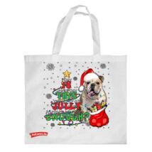 Angol Bulldog mintás karácsonyi bevásárló táska