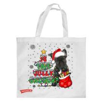 Francia Bulldog mintás karácsonyi bevásárló táska