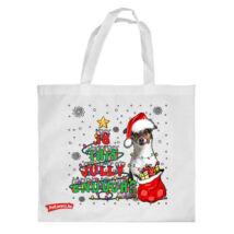Jack russell mintás karácsonyi bevásárló táska