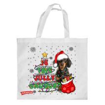 Tacskó mintás karácsonyi bevásárló táska