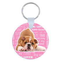 Angol bulldog kulcstartó - rózsaszín