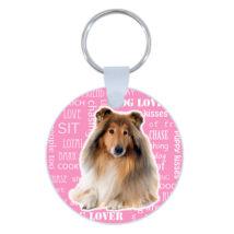 Collie kulcstartó - rózsaszín