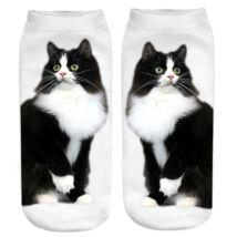 Fekete fehér macskás zokni