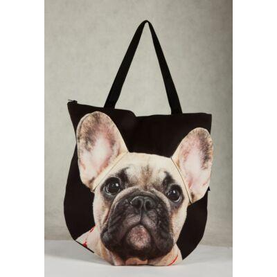 3D Francia Bulldog mintás táska - bézs
