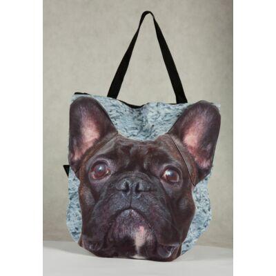 3D Francia Bulldog mintás táska - fekete 2