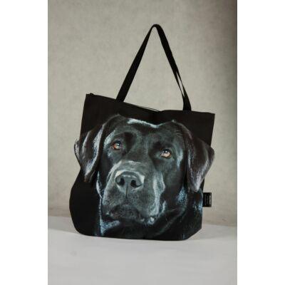 3D Labrador mintás táska - fekete