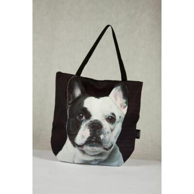3D Francia Bulldog mintás táska - fekete&fehér 2