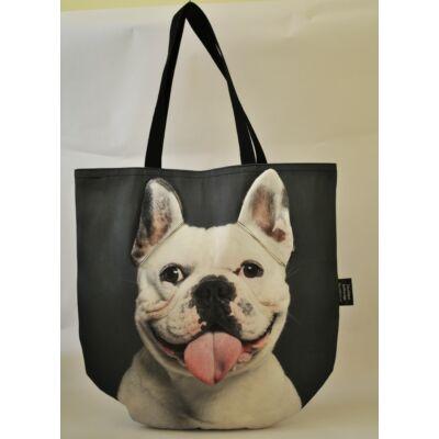3D Francia Bulldog mintás táska - fehér