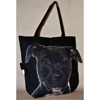 3D Pitbull mintás táska - fekete puppy