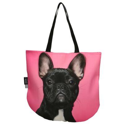3D Francia Bulldog mintás kids táska - fekete 3