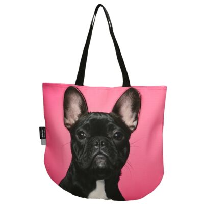 3D Francia Bulldog mintás táska - fekete 3