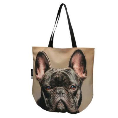 3D Francia Bulldog mintás táska - fekete