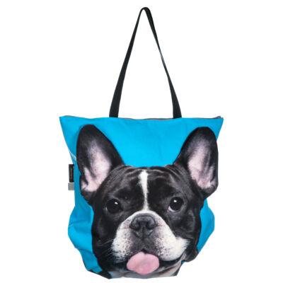 3D Francia Bulldog mintás táska - fekete&fehér 3