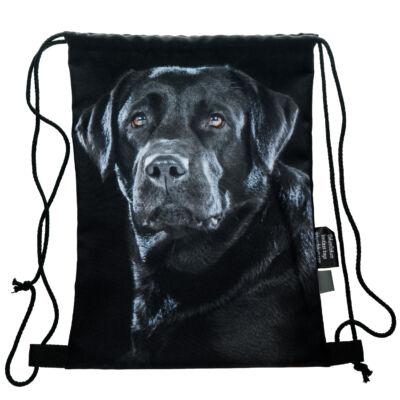 Labrador mintás hátizsák- fekete