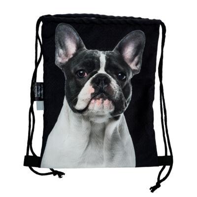 Francia Bulldog mintás hátizsák - fekete&fehér 2