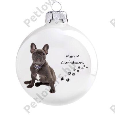 Francia bulldog karácsonyfadísz