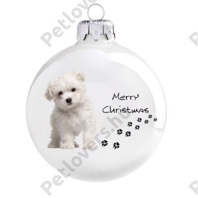 Máltai selyemkutya karácsonyfadísz