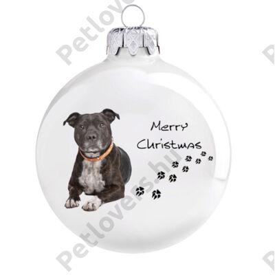 Staffordshire terrier karácsonyfadísz