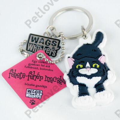 Fekete-fehér macska kulcstartó